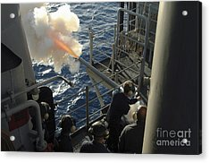 Gunners Mates Fire The .40mm Saluting Acrylic Print by Stocktrek Images