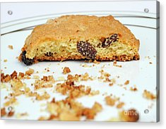 Half Cookie And Crumbs In Plate Acrylic Print by Sami Sarkis
