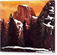 Half Dome Sunset Acrylic Print by Sara Coolidge