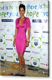 Halle Berry Wearing A Dress By Roberto Acrylic Print by Everett