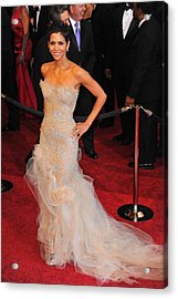 Halle Berry Wearing Marchesa Dress Acrylic Print