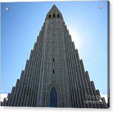 Hallgrimskirkja - Church Reykjavik Iceland  Acrylic Print by Gregory Dyer