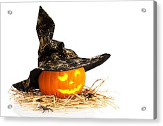 Halloween Pumpkin With Witches Hat Acrylic Print by Amanda Elwell