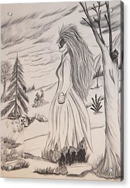 Acrylic Print featuring the drawing Halloween Witch Walk by Maria Urso