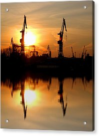 Acrylic Print featuring the photograph Hamburg Docks by David Harding