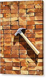 Hammer And Stack Of Lumber Acrylic Print
