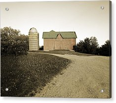 Hand-colored Barn On Nn Acrylic Print by Jan W Faul