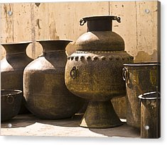 Hand Crafted Jugs, Jaipur, India Acrylic Print by Keith Levit