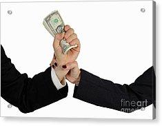 Hand Grabbing Businessman Fistful Of Money Acrylic Print by Sami Sarkis