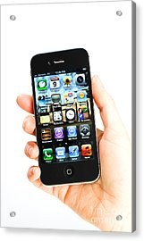 Hand Holding An Iphone Acrylic Print by Photo Researchers
