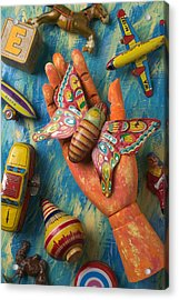 Hand Holding Butterfly Toy Acrylic Print by Garry Gay
