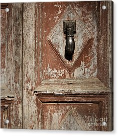 Hand Knocker And Weathered Wooden Doors Acrylic Print by Agnieszka Kubica