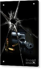 Handgun Bullets And Bullet Hole Acrylic Print by Jill Battaglia