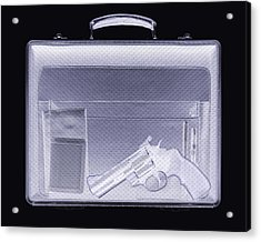 Handgun In Briefcase, Simulated X-ray Acrylic Print by Mark Sykes