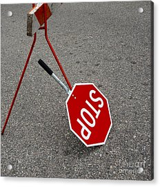 Handheld Stop Sign Acrylic Print by Marlene Ford