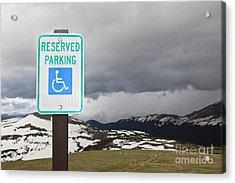 Handicap Parking Sign At A National Park Acrylic Print by Bryan Mullennix