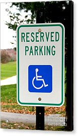 Handicapped Parking Sign Acrylic Print by Photo Researchers