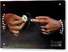 Hands And Daisy Acrylic Print by Kostas Koutsoukanidis