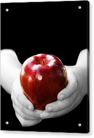 Hands Holding Apple Acrylic Print by Trudy Wilkerson