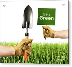 Hands Holding Garden Trowel And Sign Acrylic Print by Sandra Cunningham