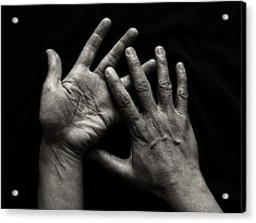 Hands On Black Background Acrylic Print by Luigi Masella