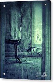 Hands On Window Of Creepy Old House Acrylic Print by Jill Battaglia