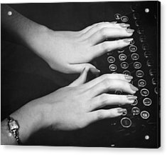 Hands Typing Acrylic Print by George Marks