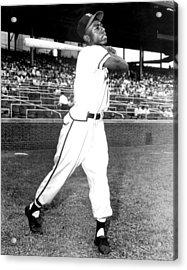 Hank Aaron Of The Milwaukee Braves, Ca Acrylic Print by Everett