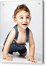Happy Baby Boy  Acrylic Print by Anna Om