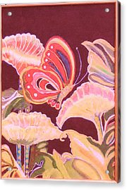 Happy Butterfly Acrylic Print by Anne-Elizabeth Whiteway