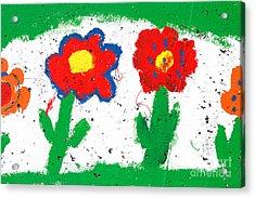 Happy Colorful Flowers Acrylic Print by Gaspar Avila