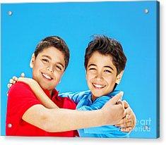Happy Cute Boys Over Blue Sky Acrylic Print by Anna Om