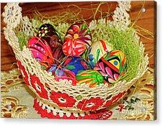 Happy Easter Basket Acrylic Print by Mariola Bitner