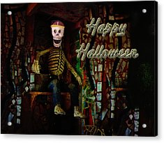 Happy Halloween Skeleton Greeting Card Acrylic Print by Mother Nature