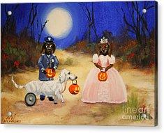 Happy Halloweenies Mummy Policeman And Princess Acrylic Print by Stella Violano