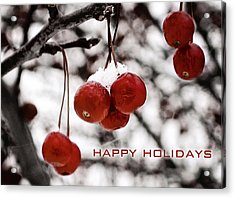 Happy Holidays Berries Acrylic Print