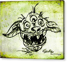 Acrylic Print featuring the drawing Happy Monster  by Nada Meeks