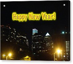 Happy New Year Greeting Card - Philadelphia At Night Acrylic Print by Mother Nature