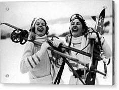Happy Skiers Acrylic Print by Fox Photos