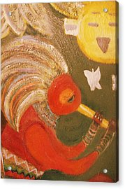 Happy Sun And Kokopelli With Feathers Acrylic Print by Anne-Elizabeth Whiteway