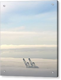 Acrylic Print featuring the photograph Harbor Cranes In Fog by Sean Griffin
