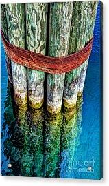 Harbor Dock Posts Acrylic Print by Michael Garyet