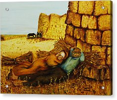 Acrylic Print featuring the painting Hard Labor Fatigue by Itzhak Richter