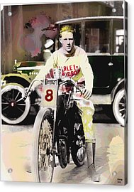 Acrylic Print featuring the mixed media Harley Davidson by Charles Shoup