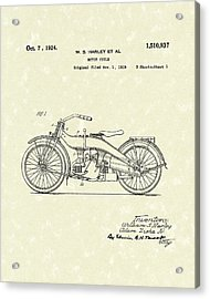 Harley Motorcycle 1924 Patent Art Acrylic Print by Prior Art Design