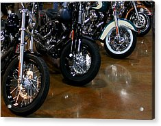 Acrylic Print featuring the photograph Harley Wheels by Karen Harrison