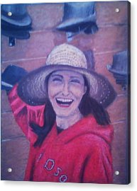 Hat Store Happiness Acrylic Print by Samuel McMullen