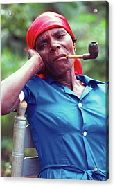 Hatian Woman With A Red Scarf And A Pipe Acrylic Print