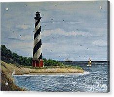 Hatteras Lighthouse Acrylic Print by Sandy  Hurst