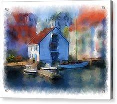 Haugesund Boat House Acrylic Print by Michael Greenaway